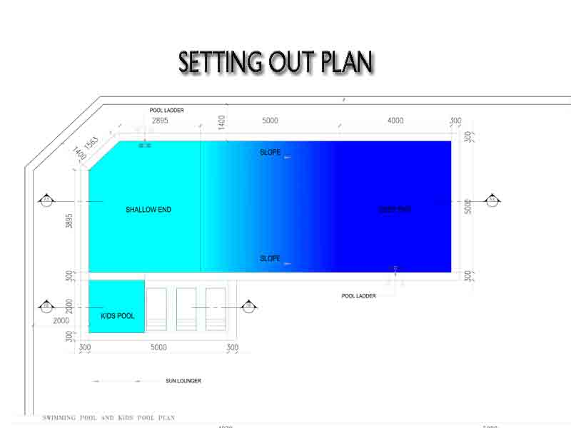 swimming pool setting out plan